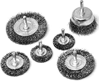 Toolman 卷曲钢丝轮杯刷套装粗卷曲碳钢通用款 6 件套 0.64 cm 电钻防锈清洁柄 XTH007