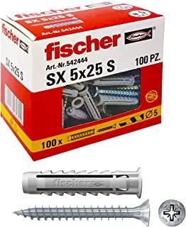 Fischer 542444 左侧螺丝钉,灰色,5 x 25 毫米,一套 100 个