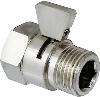 MODONA 节水流量控制和关闭阀门,由纯色黄铜制成,手柄适用于手持花洒、淋浴头和面喷雾器 - 5 年保修 亮灰色(Satin Nickel) VC01-A-N