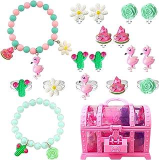 EleMirsa 17 件女孩手链夹式耳环套组小女孩公主珠宝礼品派对礼品装扮儿童珠宝套装宝藏礼盒套装 A