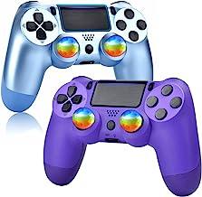YU33 钛蓝色和紫色无线控制器兼容 P - 4 带 4 个彩虹帽,带充电线/双震/触摸板/音频功能(2021 新型号操纵杆