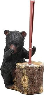 Ebros 乡村小屋 Lodge 装饰异想天开森林野生动物污渍药水马桶刷和树桩桩座浴室礼物 2 件套 Mountain Black Bear
