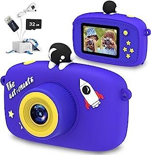 MOPEVIT 儿童相机,男孩/女孩儿童数码相机,卡通 2.0 英寸屏幕 40.0 万像素视频,32GB 存储卡,儿童玩具生日,圣诞节5-12 岁儿童(蓝色)