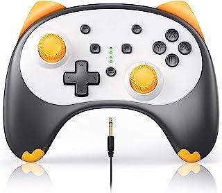 Vivefox Switch Lite 控制器,无线 Pro 控制器,适用于 Switch Switch Lite 卡通小猫开关游戏手柄,支持唤醒,涡轮,陀螺轴,双震动和音频插孔拨片