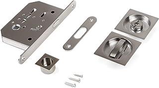 Emuca – 锁套,带旋钮手柄,滑动门锁,钢制,镀镍 Nickel Satiniert 1019651