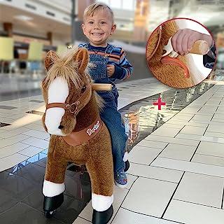PonyCycle 型号 U-2021 骑马玩具毛绒步行动物棕色马中号适合 4-9 岁儿童 Ux424