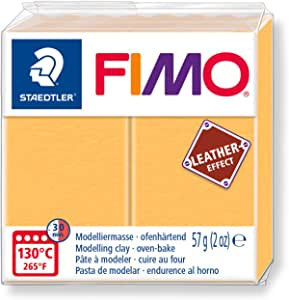 STAEDTLER FIMO 皮革效果 57G 涤纶模型烤箱扣 - 12 种颜色 Child, Adult Saffron Yellow (109) Saffron 黄色