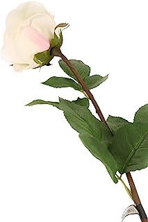 花卉优雅人造 72 厘米单茎完全开放的白色玫瑰花 x 6