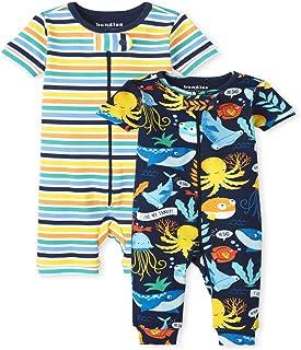 The Children's Place 婴幼儿男孩 Sea Life 条纹舒适棉质连体睡衣 2 件装