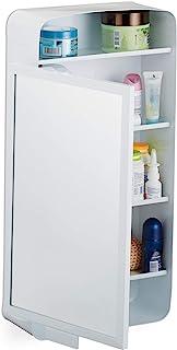 Relaxdays 镜柜 2 层隔间 3 个隔层 浴室单门壁挂柜 金属 高 × 宽 × 深 61 × 30 × 12.5 厘米 白色