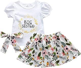 小女孩 Promoted to Big Sister 裙子套装 Big Sister T 恤上衣 + 裙子 + 头带 3 件套