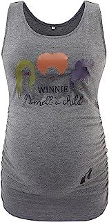 Ecavus 女式孕妇背心基本低圆领无袖孕妇 T 恤侧褶背心, 深灰色万圣节 35, X大码