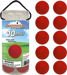 Jazzminton 慢球 10 个装,用于慢速玩耍,带木桨 - 有趣的户外桨游戏
