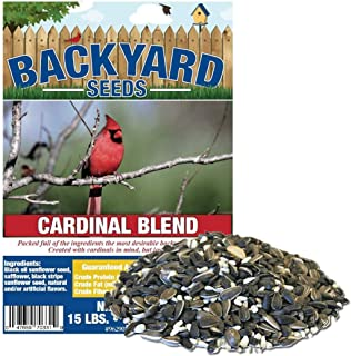 Backyard Seeds 黑油向日葵和红花红衣主教混合鸟种子(15 磅)