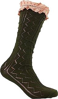 blazin' roxx 女式黑色锯齿形带象牙色褶皱上衣靴子短袜