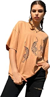 MakeMeChic 女式休闲字母图案印花半袖超大 T 恤