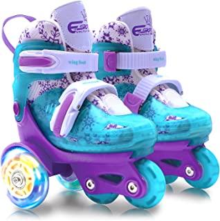 4-Pejiijar 可调节溜冰鞋,适合儿童女孩女士,带发光 LED 轮(3-9 岁),趣味照明,三点式平衡,礼盒包装,适合幼儿、儿童、青少年