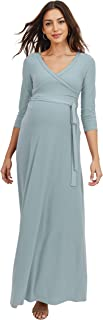 HELLO MIZ 女式人造裹身长裙 带腰带 - 美国制造 ¾ Chambray Medium