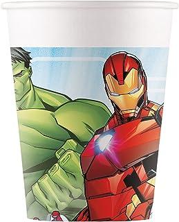 Procos 93467 – 派对杯,Mighty Avengers,*大容量200毫升,8件,一次性杯,纸制,儿童生日,派对餐具,FSC