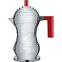 Alessi 意式浓缩咖啡机,带有聚酰胺手柄,铝,红色,1杯