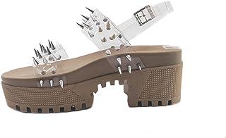Cape Robbin 多米尼加厚底系带铆钉女士凉鞋,舒适平底凉鞋,女式一脚蹬平底凉鞋