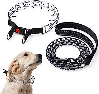 狗爪项圈,狗狗用金属狗绳的夹颈项圈,适用于小型大型犬的颈圈,无拉颈圈狗项圈,带快速释放按扣,可调节不锈钢链环,橡胶尖端
