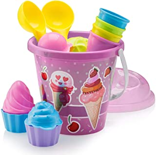 Top Race 沙滩玩具,沙玩具,16 件冰淇淋模具套装,适合 3-10 岁儿童,带 22.86 厘米大的沙滩玩具桶,适合儿童和幼儿(粉色)