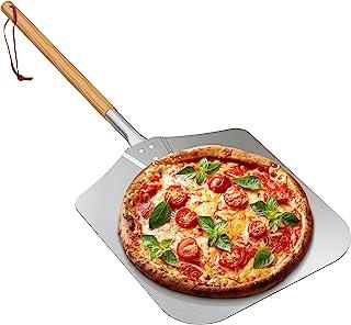 Only fire 大号铝制披萨铲,木质手柄,13.5 x 16 英寸(约 34.3 x 40.64 厘米)用于烘焙手工披萨,36 英寸(约 91.44 厘米),适合任何户外或室内披萨烤炉