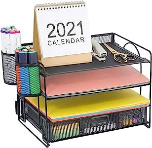Marbrasse 4 个托盘桌面文件收纳器 | 纸质信纸托盘带抽屉收纳器和 2 个笔筒 | 网状办公用品桌面收纳器适用于家庭办公室,黑色