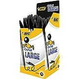 BIC 大圆珠笔,宽圆珠笔(1.6毫米)-黑色,50盒-无污迹,笔尖更大,墨水流动顺畅