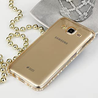 Beste4Handys EGO? Galaxy J5 手机壳透明 TPU 硅胶后盖金色水钻