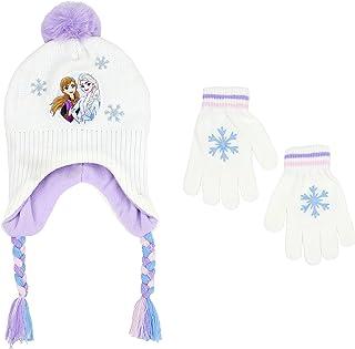 Disney 冰雪奇缘女孩冬季帽子和手套套装,白色,适合 6-13 岁儿童