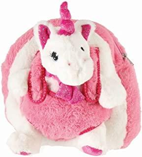 Bieco 儿童背包带独角兽毛绒玩具,长毛绒背包,带可调节肩带,儿童背包,24 厘米,白色/粉色