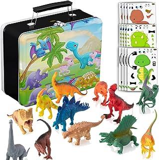 PartyNow 12 个恐龙玩具,带彩色锡盒 - 每个恐龙尺寸为 6 英寸(约 15.2 厘米)大号 - 适合男孩和女孩的礼物 适合 3 至 10 岁的孩子