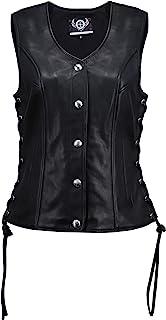 TRUE ELEMENT 女式高级按扣修身侧系带皮革背心(黑色,XS-3XL)