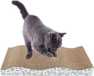 Utaomld 猫抓板 猫抓板 猫抓板 猫抓板 波纹猫抓板 独特双纹理表面耐用设计 波浪弯曲形状 双面 带*猫薄荷
