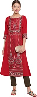 Janasya 印度女式栗色涤纶绉纱衬衫