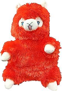 可爱羊驼(羊驼羊驼)(橙色)毛绒背包 - 快乐版带可调节肩带