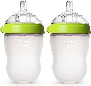 Comotomo 婴儿奶瓶,绿色,8 盎司,约236.56 毫升(2 个)