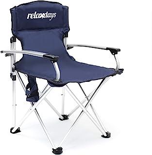 Relaxdays 带杯架折叠椅,94 x 64.5 x 61 厘米钓鱼椅可折叠,带扶手,可折叠椅,带枕头枕,鱼椅子,带杯架和防风雨涤纶套 61x64.5x94 cm 蓝色 10020075