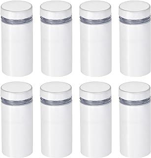uxcell 1.27 厘米直径。 x 1-1/16 英寸(12x27 毫米)立式螺丝壁挂标志架亚克力玻璃钉白色 8 件