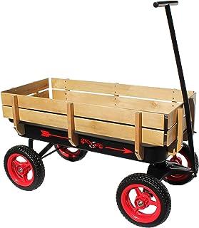 Flexible Flyer 全地形钢木车,超长手柄,黑色和红色