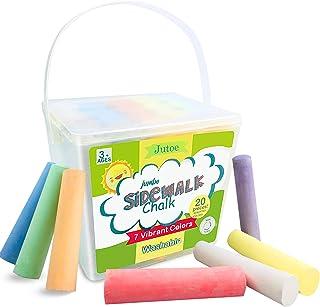 特大人行道粉笔,20 支 7 色街头粉笔套装,可水洗*大号粉笔,带便携式桶,彩色粉笔用于绘画,路面 - 儿童室内/室外游戏礼物艺术街粉,方形