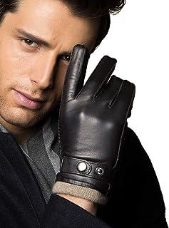 YISEVEN 男式触摸屏小羊皮冬季皮革手套 羊绒衬里