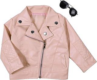 男婴女孩童装春季秋季 PU 人造皮革翻领夹克斜拉链外套外套