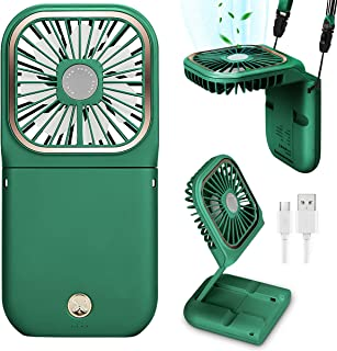 Shiwely 小风扇个人颈扇 男女迷你台式风扇 USB 风扇 可充电电池操作手持风扇 用作移动电源和手机支架 适用于室内和室外旅行