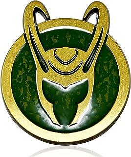 Loki 符号头盔 PIN 官方正品 Disney + 漫威洛基头盔符号珐琅翻领别针,3.5 厘米 x 4.25 厘米