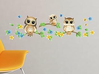 分支机构上的猫头鹰图案面料墙贴 - 树枝上有 3 个猫头鹰,一套 带花朵和蝴蝶 - 4 种颜色选择 - *,可重复使用,可重贴 B) Brown