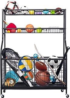 Balls Storage, 运动设备存储, 滚动运动球推车, 车库存储系统, 车库运动装备存储带 2 层篮子,适用于各种球类、球拍、健身装备、瑜伽垫、儿童玩具