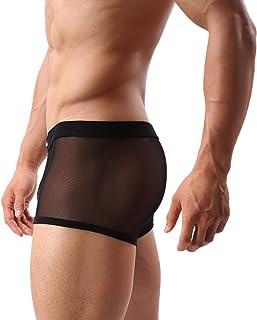 男式性感平角内裤*网眼透气凉爽低腰内裤(36 黑色,4XL)